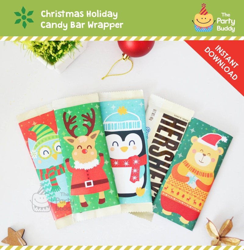 Diy Candy Bar Wrappers Christmas Chocolate Bar Wrapper Diy Favors Candy Wrap