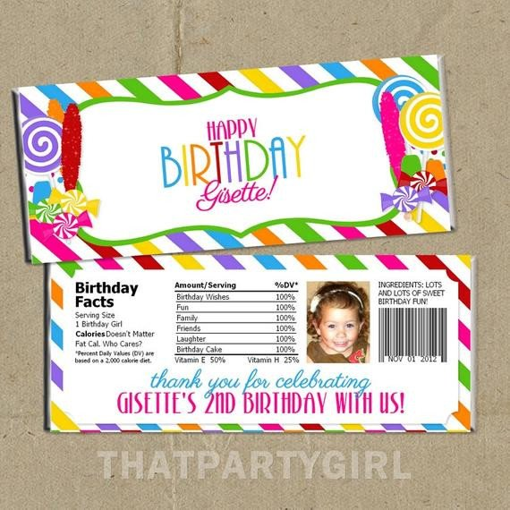 Diy Candy Bar Wrappers Diy Candy Shop Birthday Party Candy Bar Wrappers by