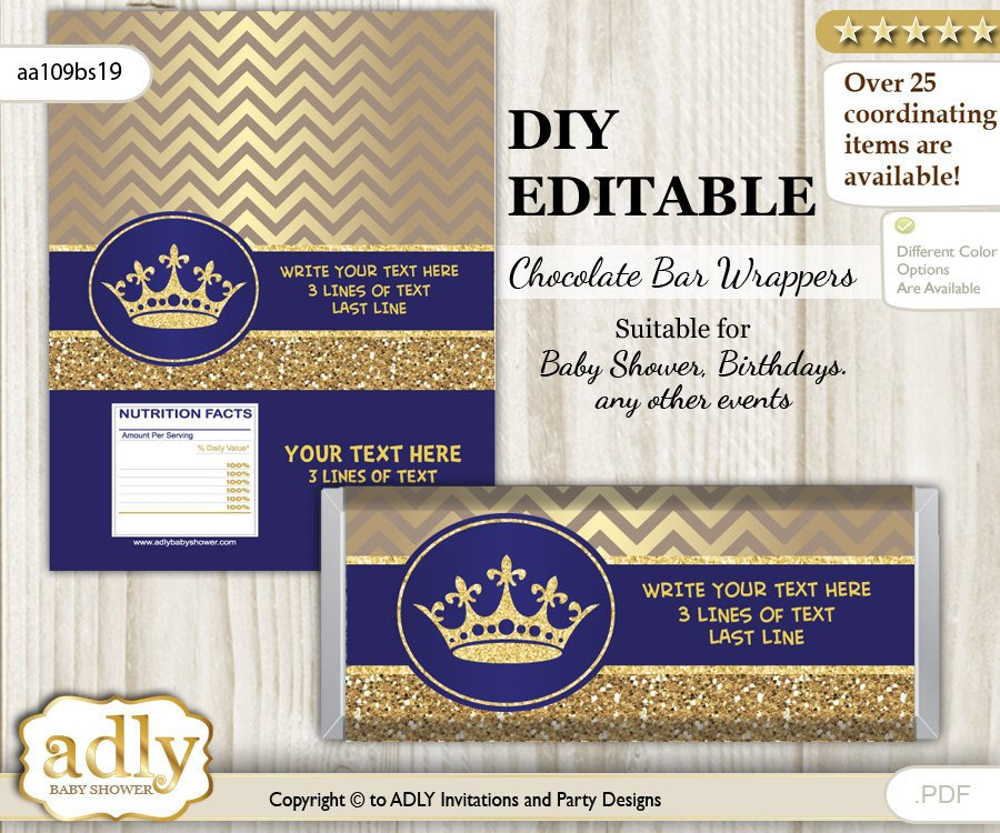 Diy Candy Bar Wrappers Diy Personalizable Royal Prince Chocolate Bar Wrapper