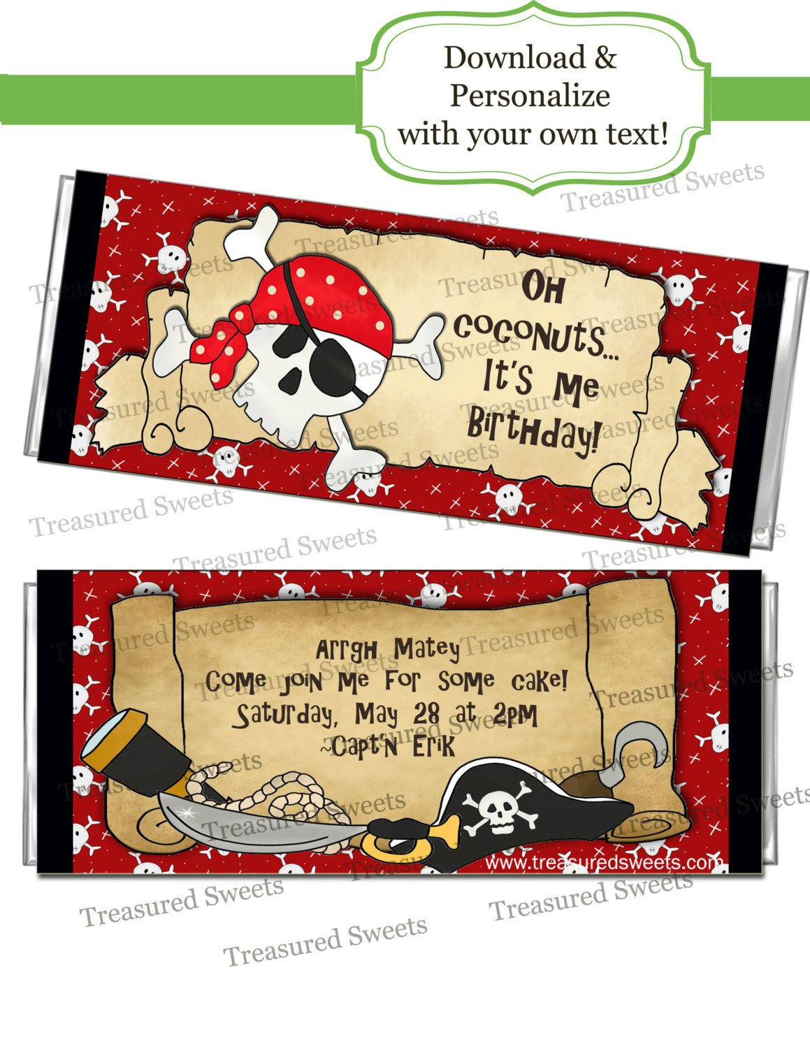 Diy Candy Bar Wrappers Printable Pirate Candy Bar Wrappers Personalized Editable Boys