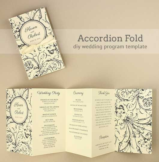 Diy Wedding Program Template Diy Accordion Wedding Program Free Template Project