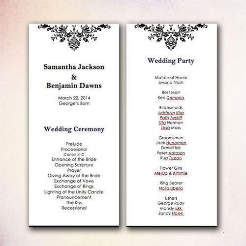 Diy Wedding Program Template Diy Wedding Program Template Instant Download Microsoft