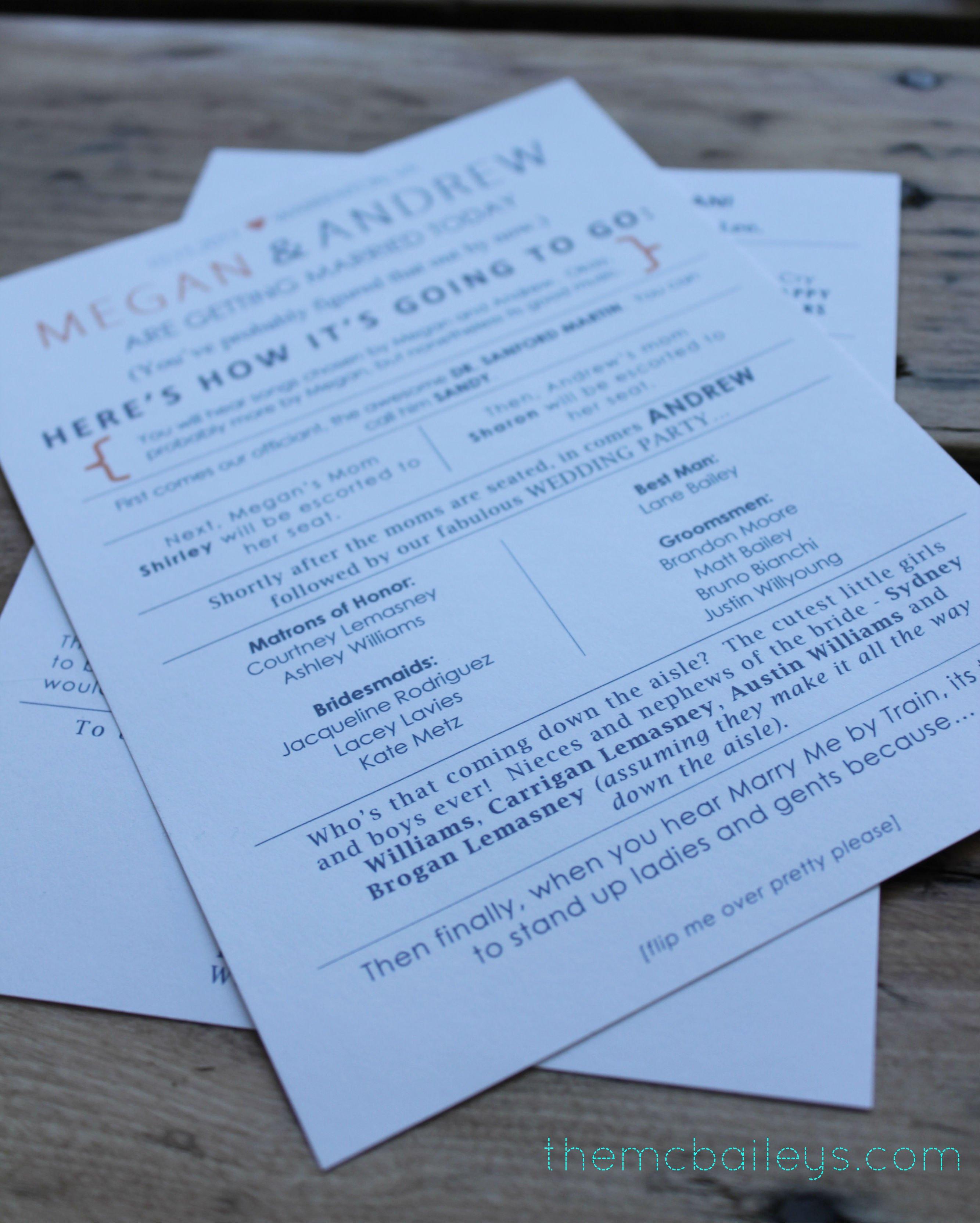 Diy Wedding Program Template Diy Wedding Programs the Mcbaileys