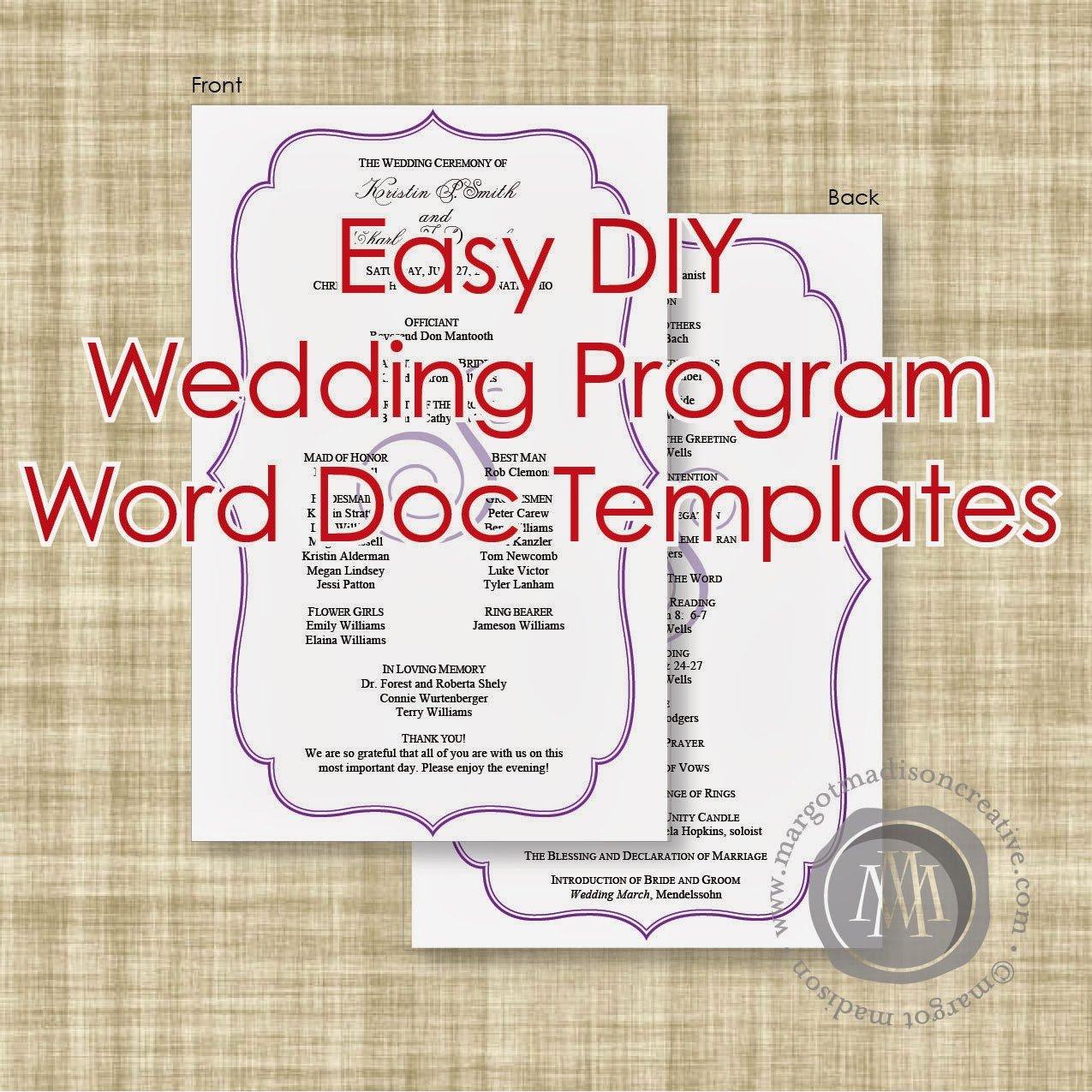 Diy Wedding Program Template Margotmadison Diy Wedding Program Word Doc Templates now