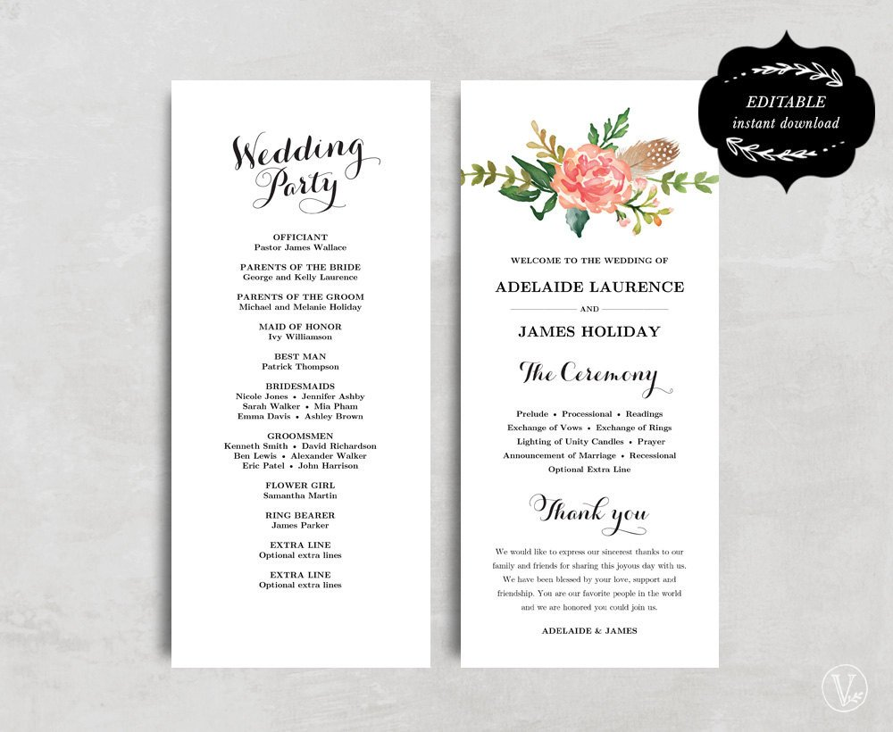 Diy Wedding Program Template Printable Wedding Program Template Floral Wedding Program