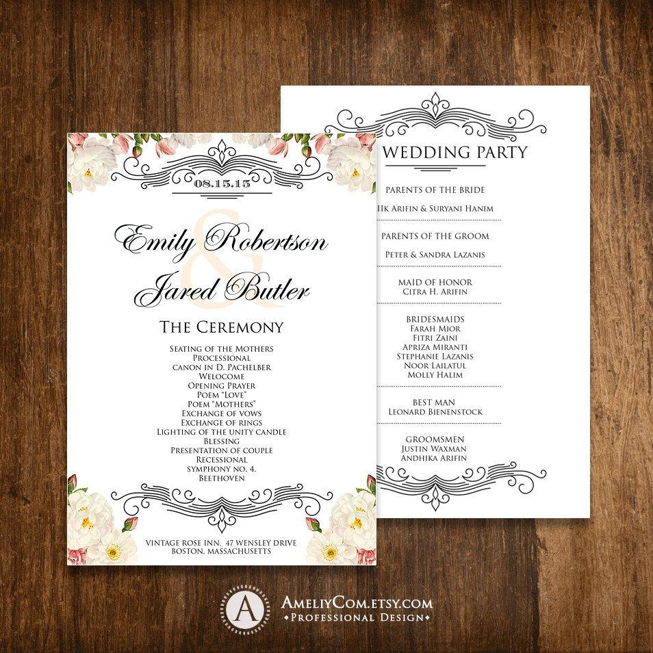 Diy Wedding Program Template Printable Wedding Programs Editable Template Diy Instant