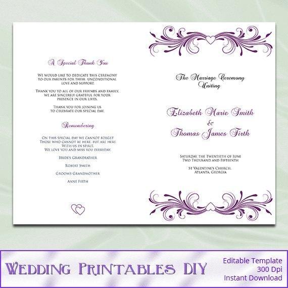 Diy Wedding Program Template Template for Wedding Programs