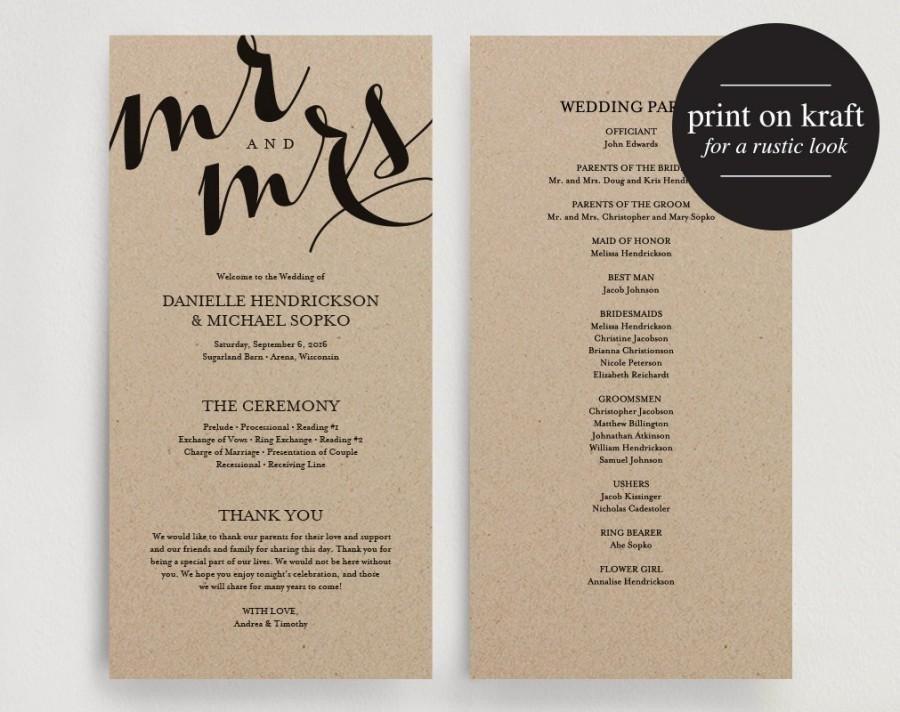 Diy Wedding Program Template Wedding Program Printable Template Printable Program