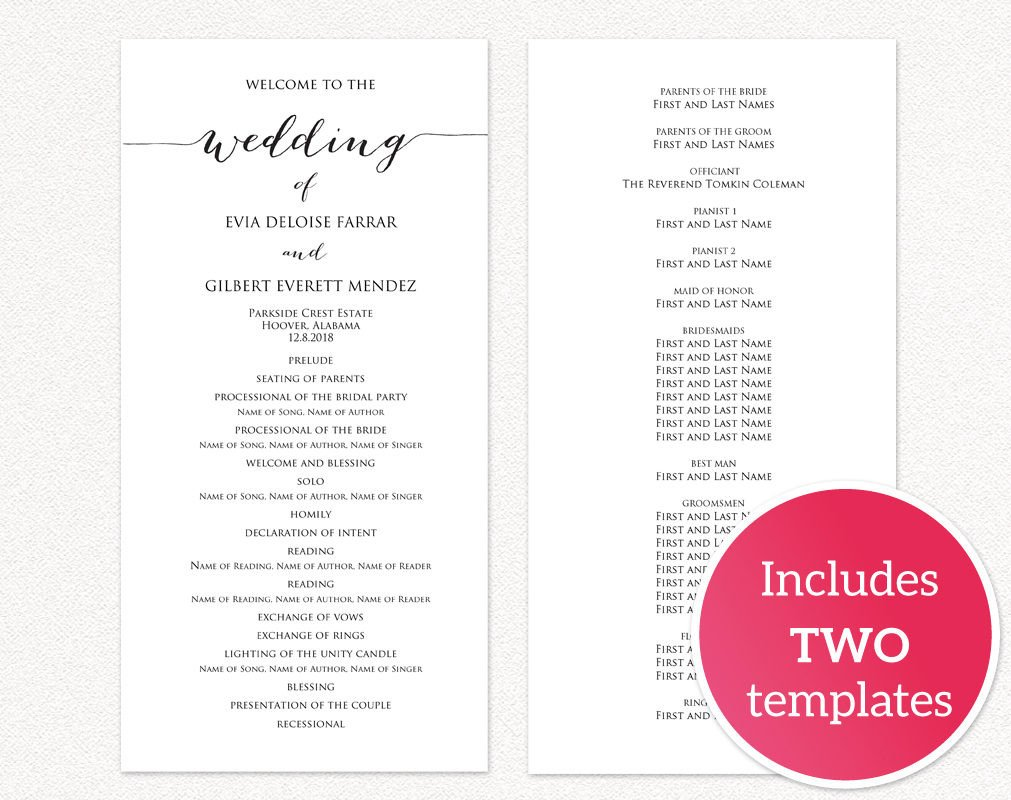Diy Wedding Program Template Wedding Programs · Wedding Templates and Printables