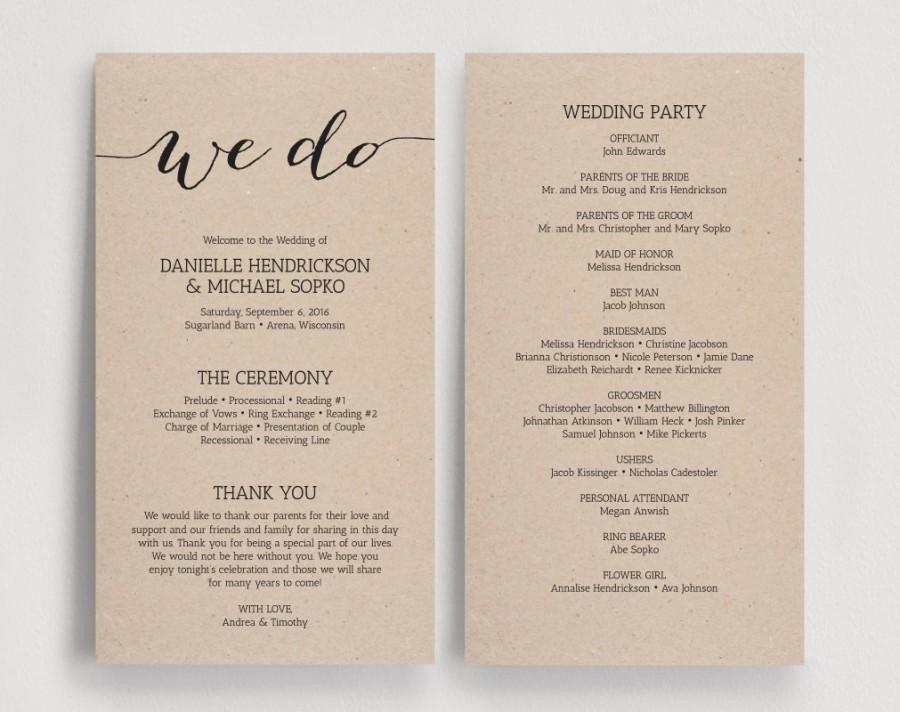 Diy Wedding Program Template Wedding Programs Printable Template Printable Program