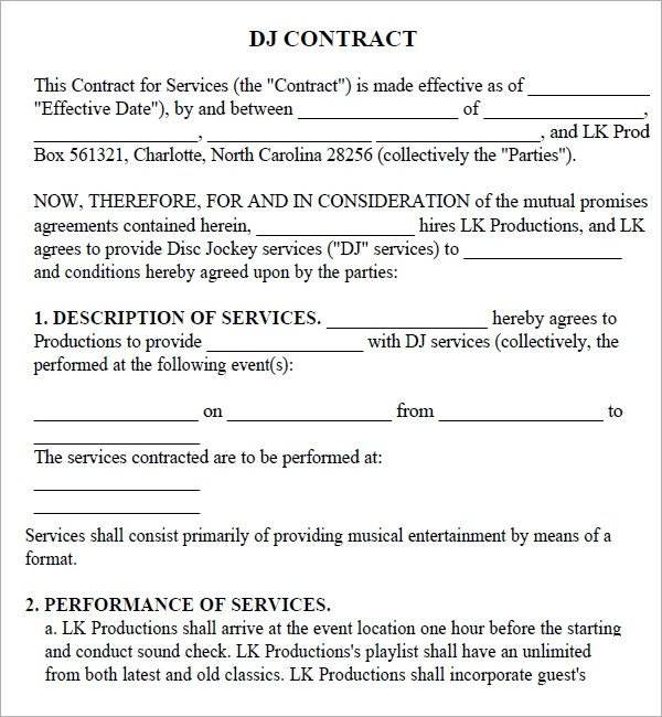 Dj Contract Template Microsoft Word Dj Contract 20 Download Documents In Pdf Google Docs