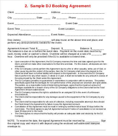 Dj Contract Template Microsoft Word Dj Contract 21 Word Pdf Google Docs Apple Pages