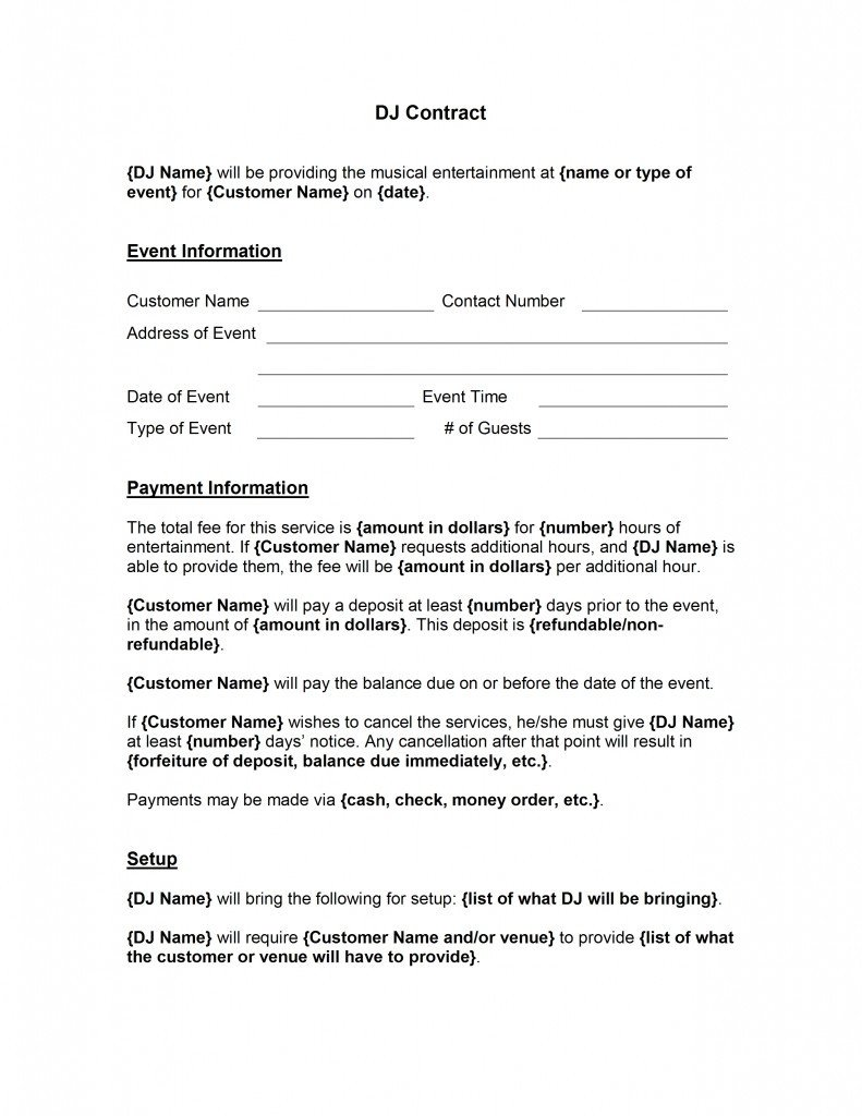 Dj Contract Template Microsoft Word Dj Contract Template Free Microsoft Word Templates