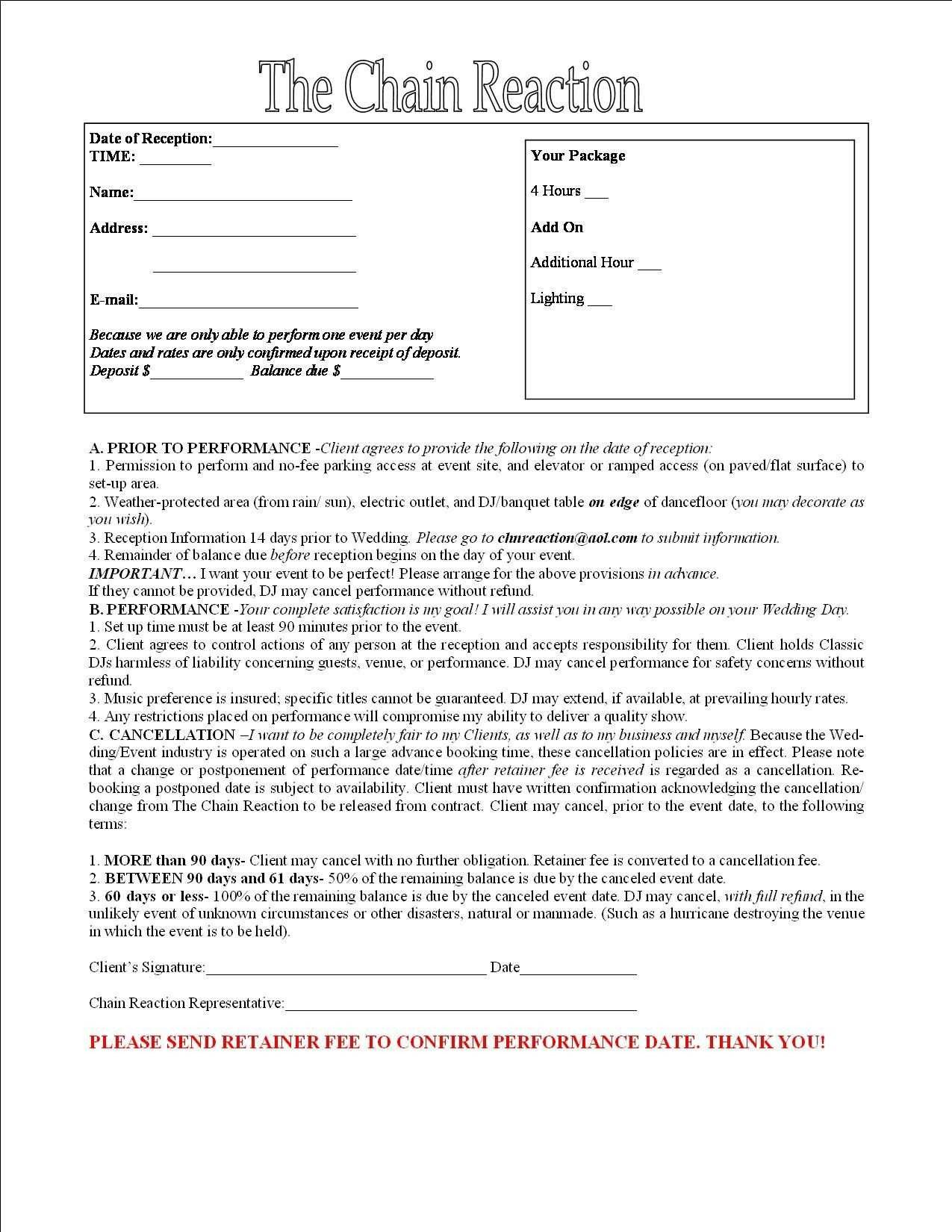 Dj Contract Template Microsoft Word Layaway Agreement form Great Wedding Dj Contract Layaway