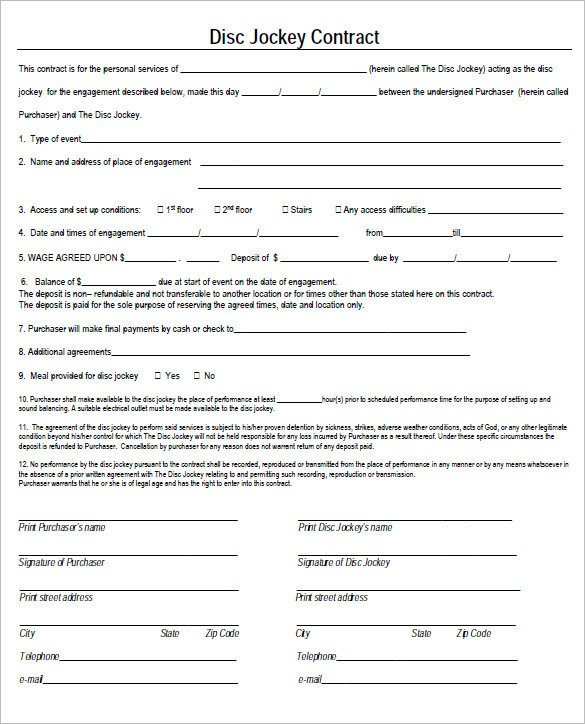 Dj Contract Template Pdf 6 Dj Contract Templates – Free Word Pdf Documents