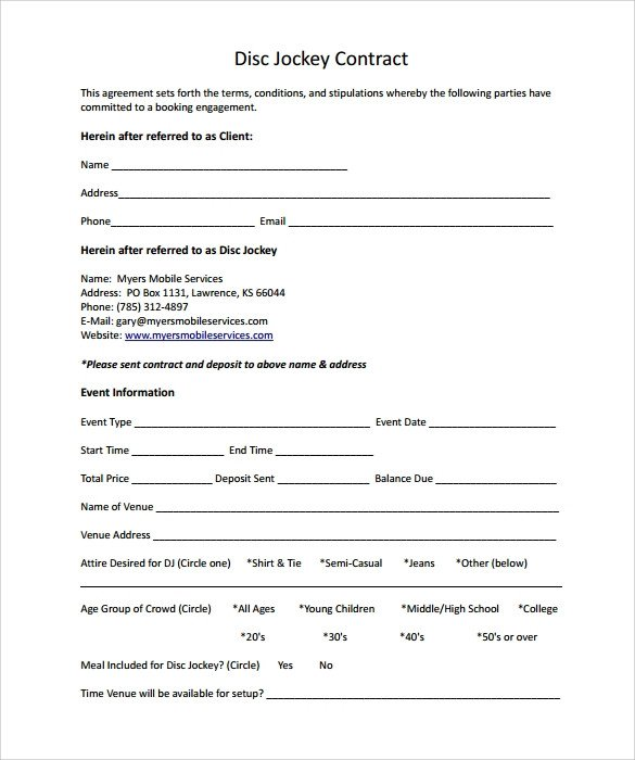 Dj Contract Template Pdf Dj Contract 12 Download Documents In Pdf