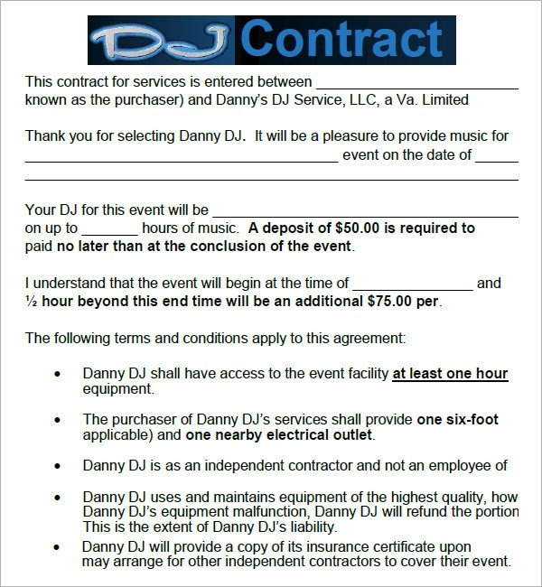 Dj Contract Template Pdf Dj Contract 20 Download Documents In Pdf Google Docs