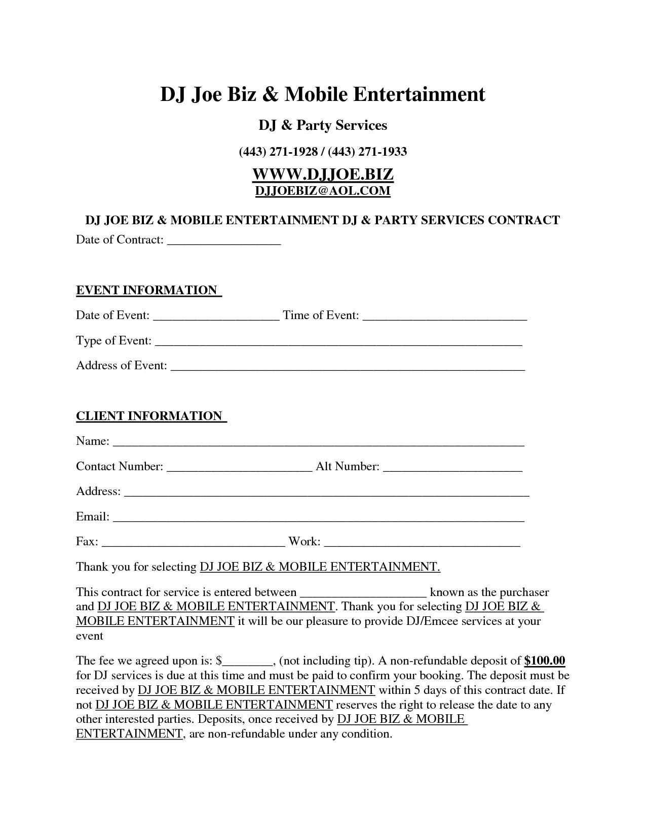 Dj Contract Template Pdf Dj Contract Template Invitation Templates D J