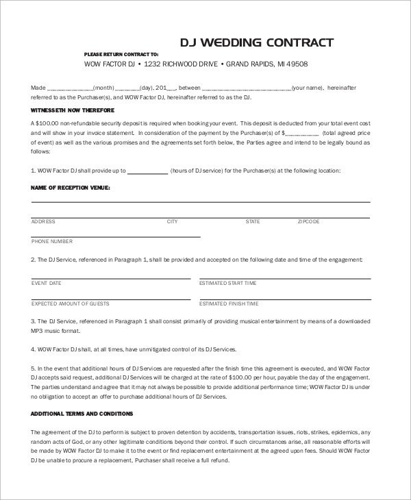 Dj Contract Template Pdf Sample Dj Contract 14 Examples In Word Pdf Google