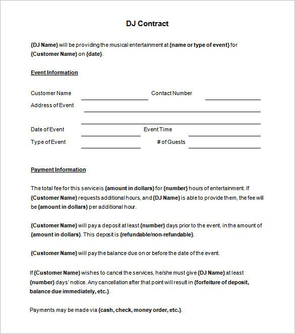 Dj Services Contract Template Brilliant Dj Contract Template Sample with Blank event