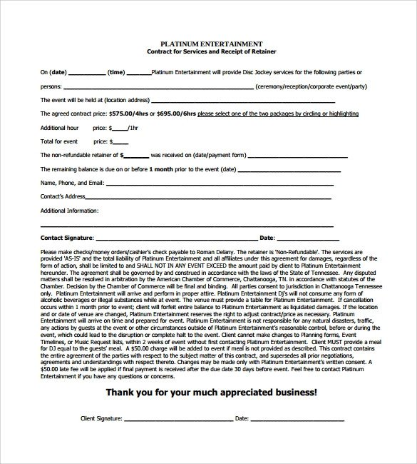 Dj Services Contract Template Dj Contract 20 Download Documents In Pdf Google Docs