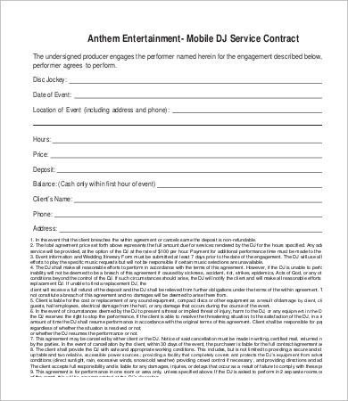 Dj Services Contract Template Dj Contract 21 Word Pdf Google Docs Apple Pages