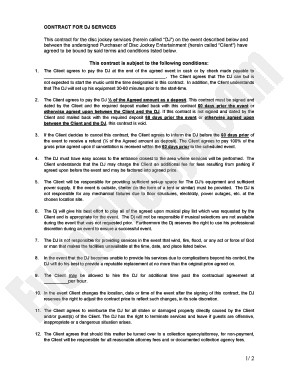 Dj Services Contract Template Dj Contract Pdf Fill Line Printable Fillable Blank