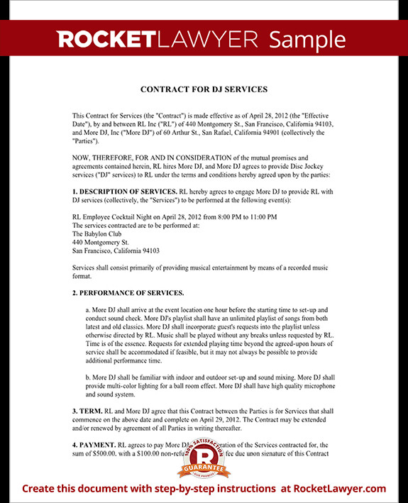 Dj Services Contract Template Dj Contract Template Dj Agreement with Sample