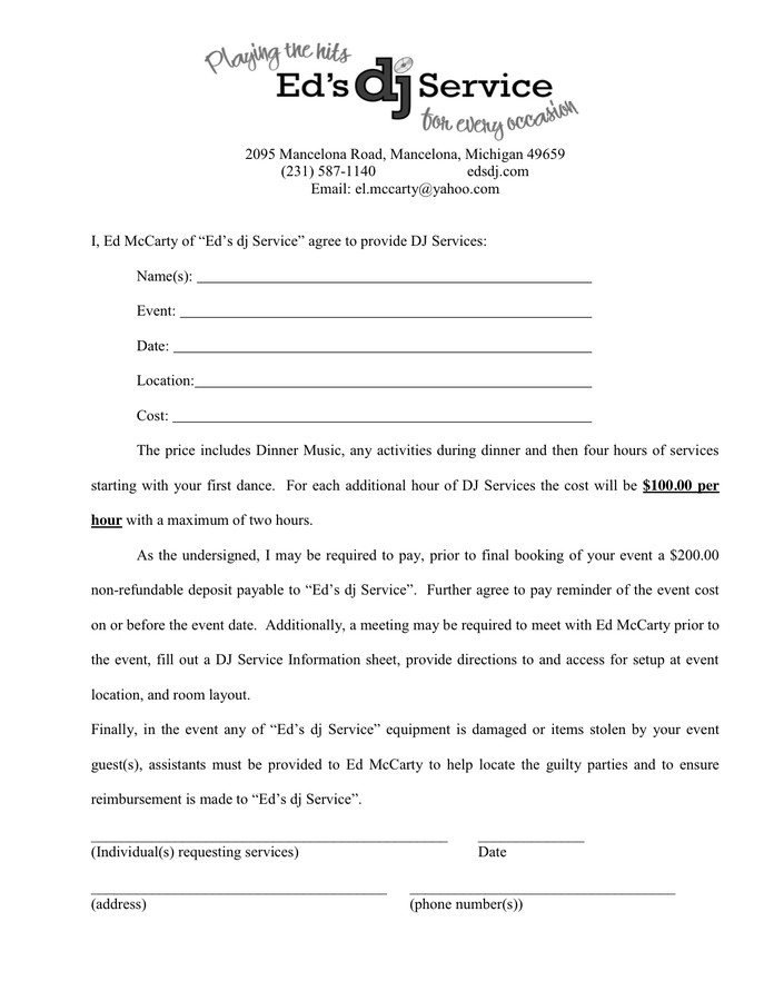 Dj Services Contract Template Dj Services Contract In Word and Pdf formats