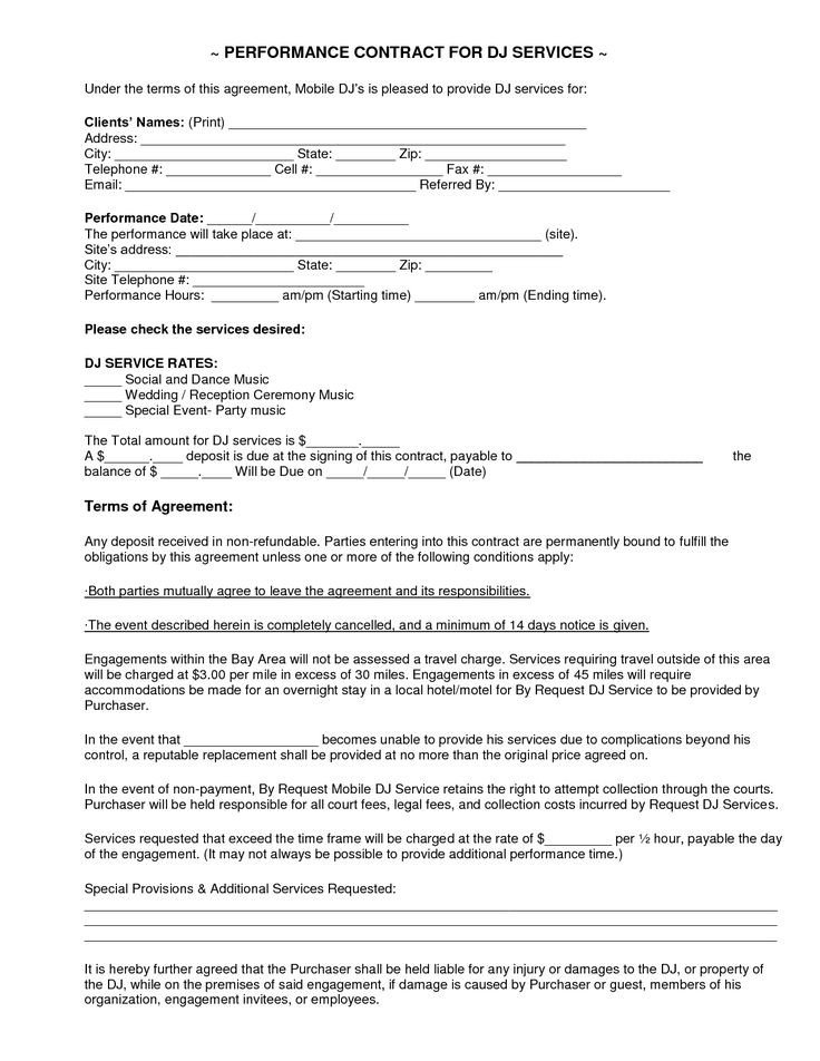 Dj Services Contract Template Mobile Dj Contract