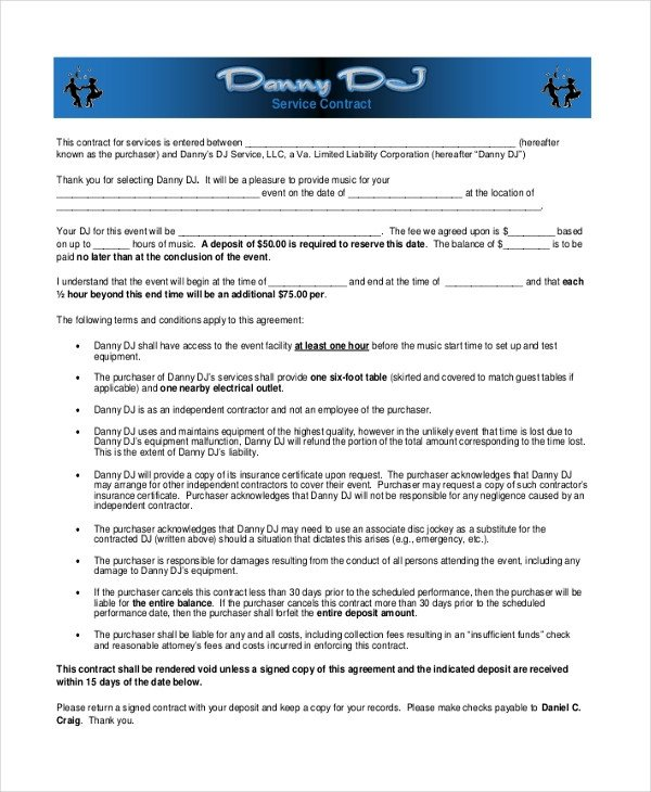Dj Services Contract Template Sample Dj Contract form 8 Free Documents In Pdf Doc
