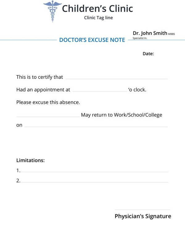 Doctors Note for School Template 34 Doctors Note Samples – Pdf Word Pages Portable