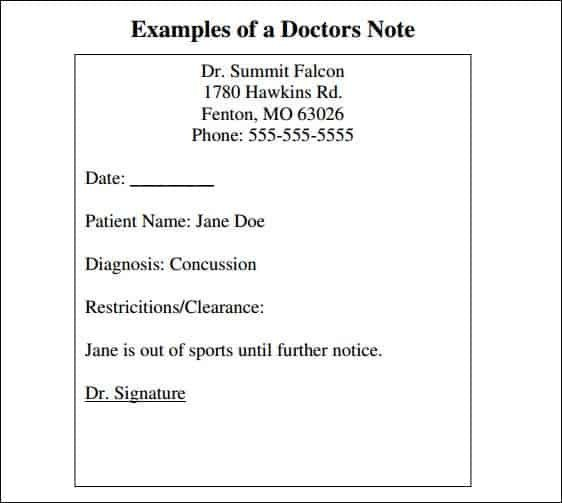 Doctors Note for School Template 9 Doctor Note Templates Word Excel Pdf formats