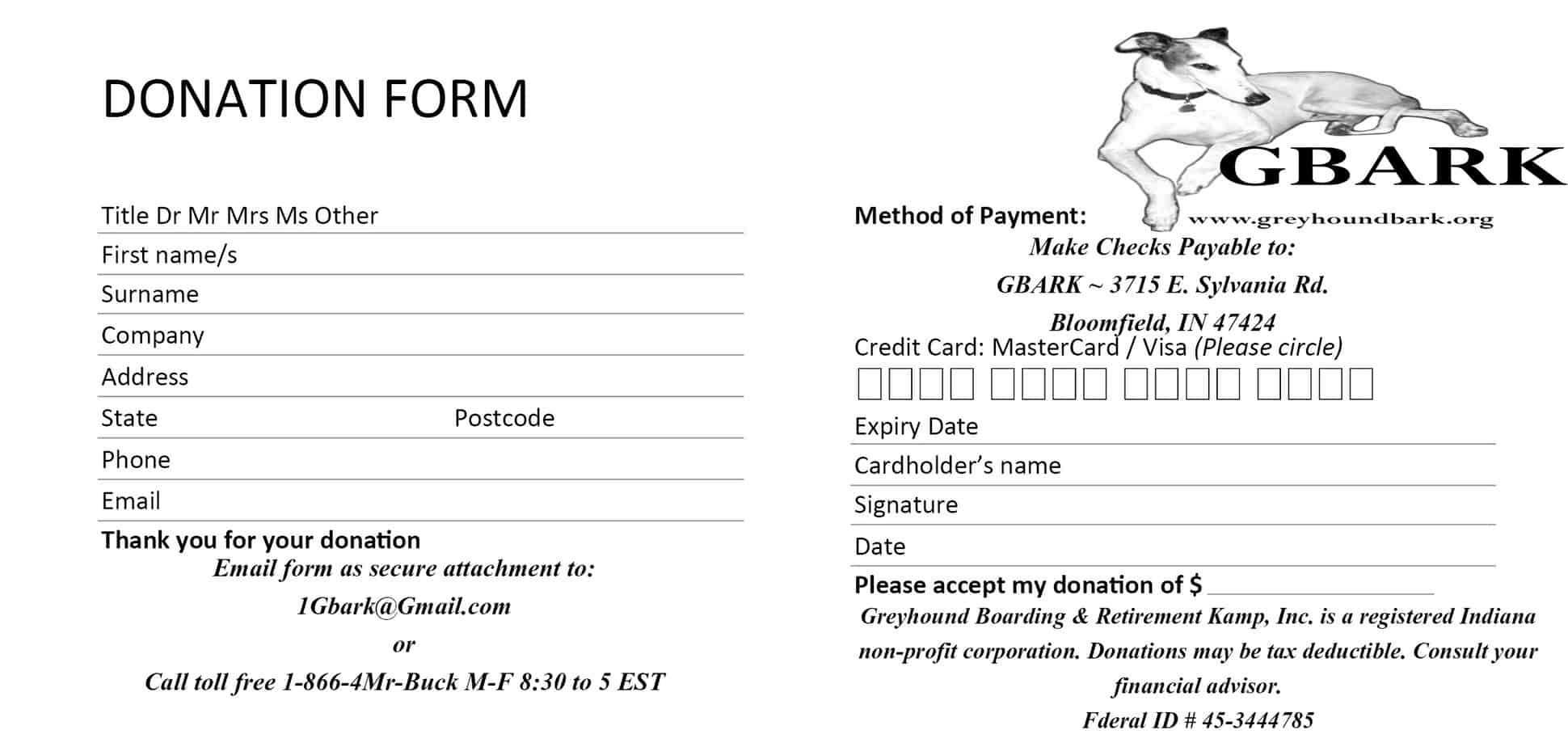 Donation form Template Word 6 Donation form Templates Excel Pdf formats
