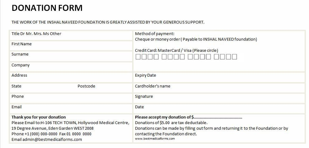Donation form Template Word 6 Free Donation form Templates Excel Pdf formats