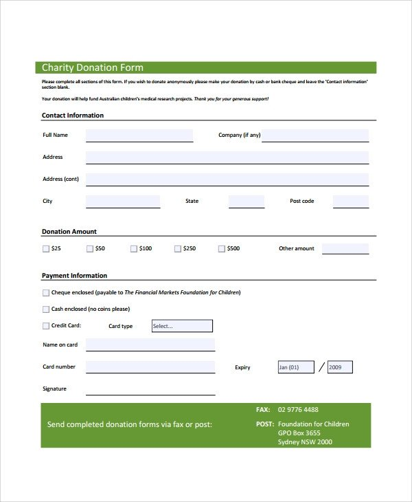 Donation form Template Word Sample Donation form 6 Documents In Pdf Word