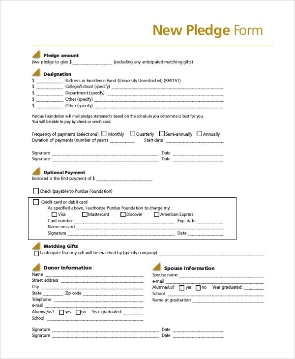 Donation Pledge Card Template 8 Sample Pledge forms Pdf Word