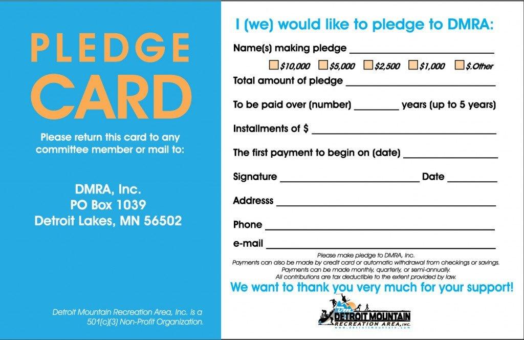 Donation Pledge Card Template Donate Detroit Mountain