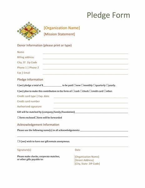 Donation Pledge Card Template Donation Pledge form This form normally Contains Basic