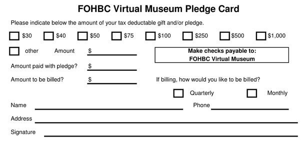 Donation Pledge Card Template Fohbc Virtual Museum Of Historical Bottles and Glass
