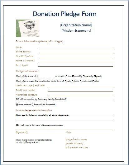 Donation Pledge Card Template Sample Donation Pledge form