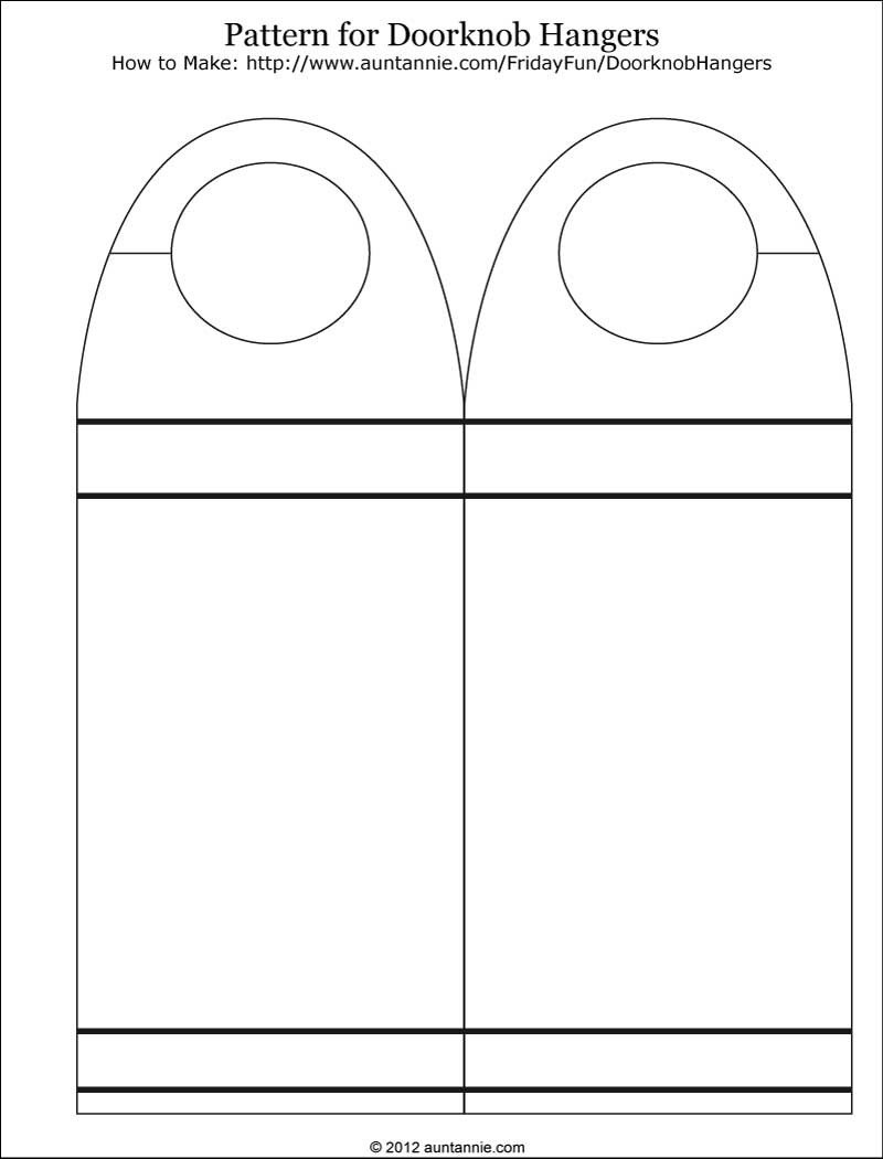 Door Knob Hanger Template Blank Printable Doorknob Hanger Template