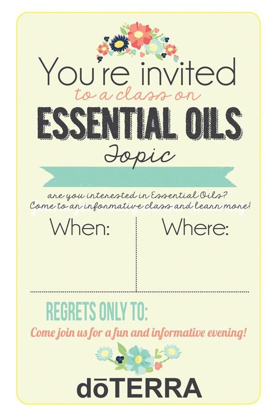 Doterra Class Flyer Template 4x6 Doterra Class Invitation Instant Download by