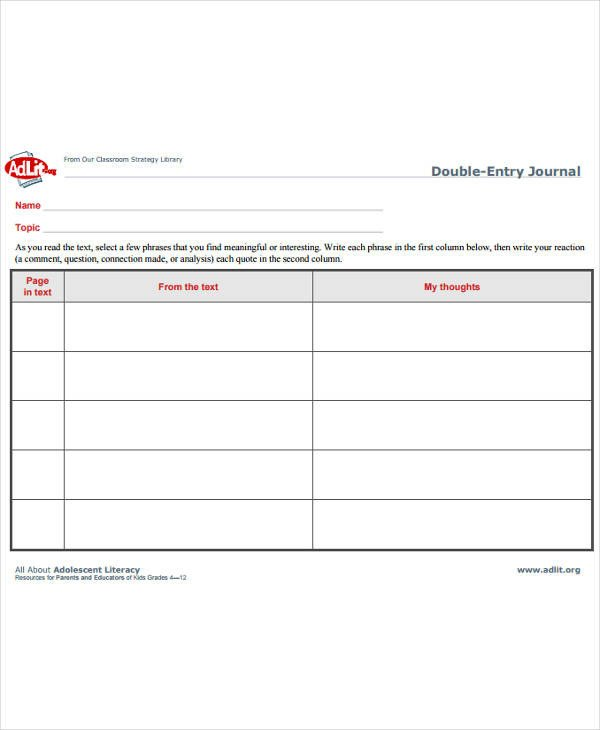 Double Entry Journal Template 10 Double Entry Journal Templates Pdf Doc