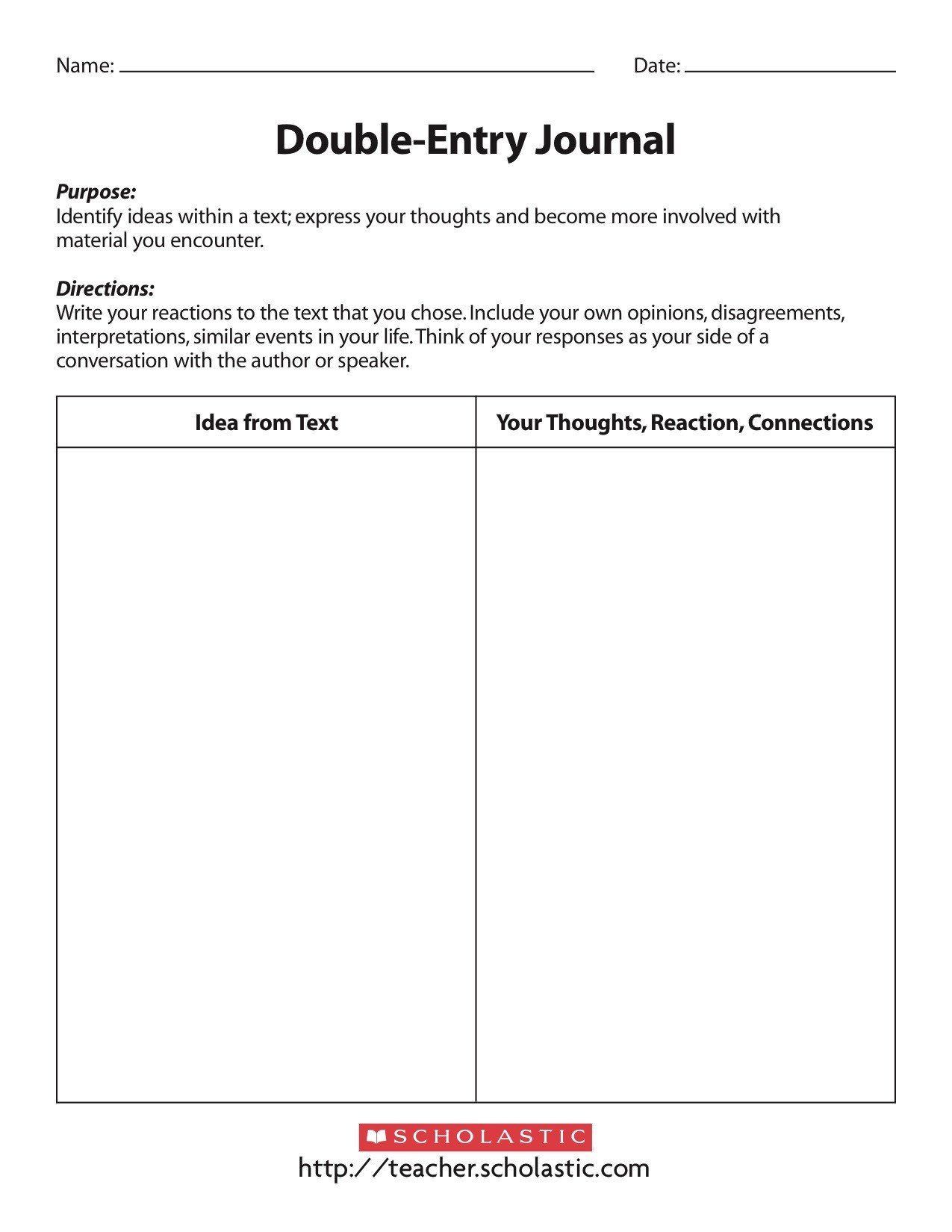 Double Entry Journal Template Content Specific Literacy Focusing On Prehension