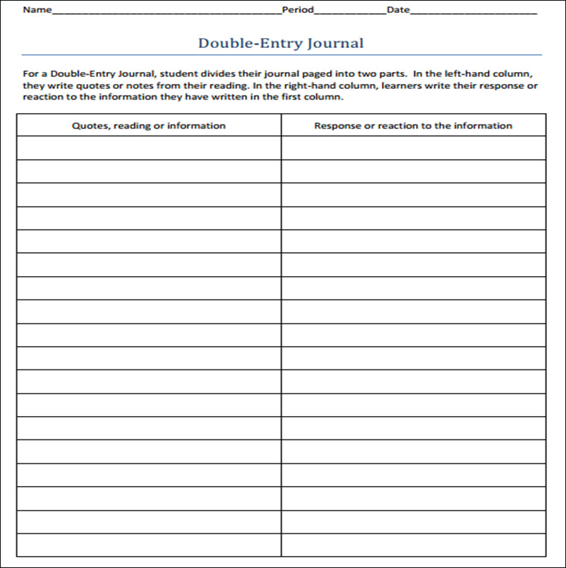 Double Entry Journal Template Double Entry Journal Template