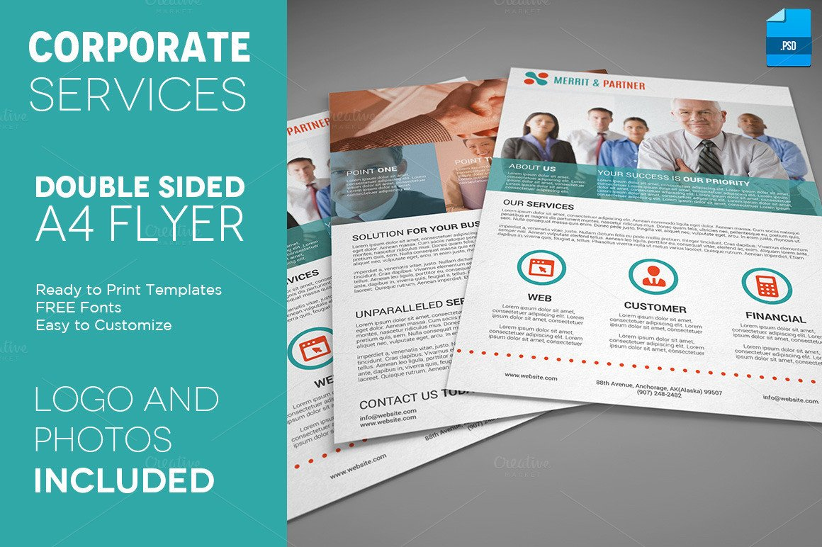 Double Sided Brochure Template A4 Double Sided Corporate Flyer Flyer Templates On