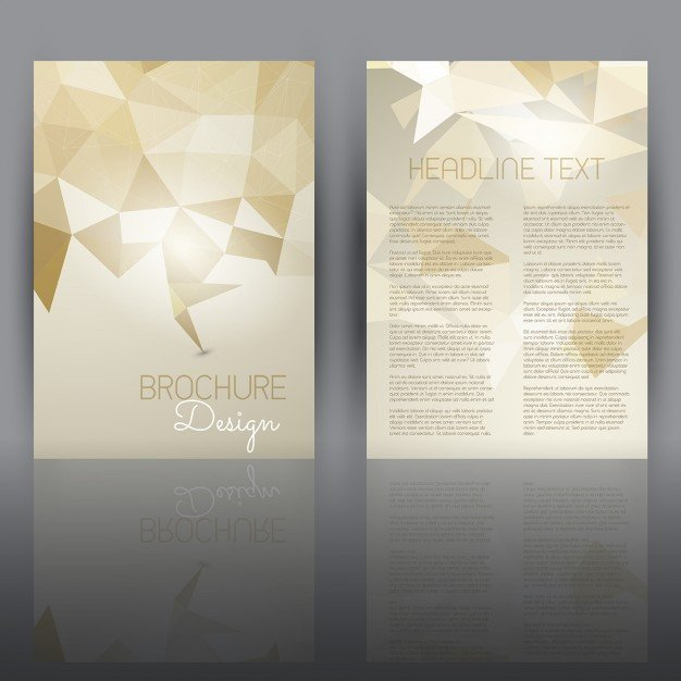 Double Sided Brochure Template Double Sided Flyer Template with A Low Poly Design Vector