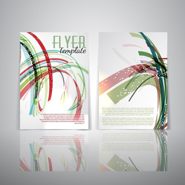 Double Sided Brochure Template Double Sided Flyer Template with Abstract Design Vector