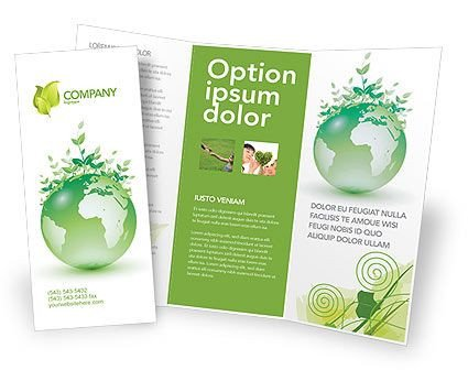 Double Sided Brochure Template Double Sided Tri Fold Green Environment Brochure Template